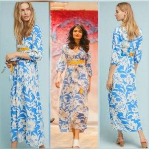 Maeve Anthropologie L 10 12 Blue Floral Maxi dress